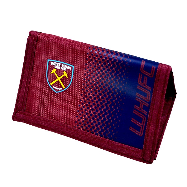 WEST HAM UNITED FC EMBROIDERED CREST LEATHER MONEY WALLET COIN CASH CARD PURSE