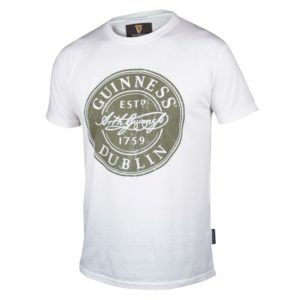 BUY GUINNESS WHITE DISTRESSED LABEL T-SHIRT IN WHOLESALE ONLINE!