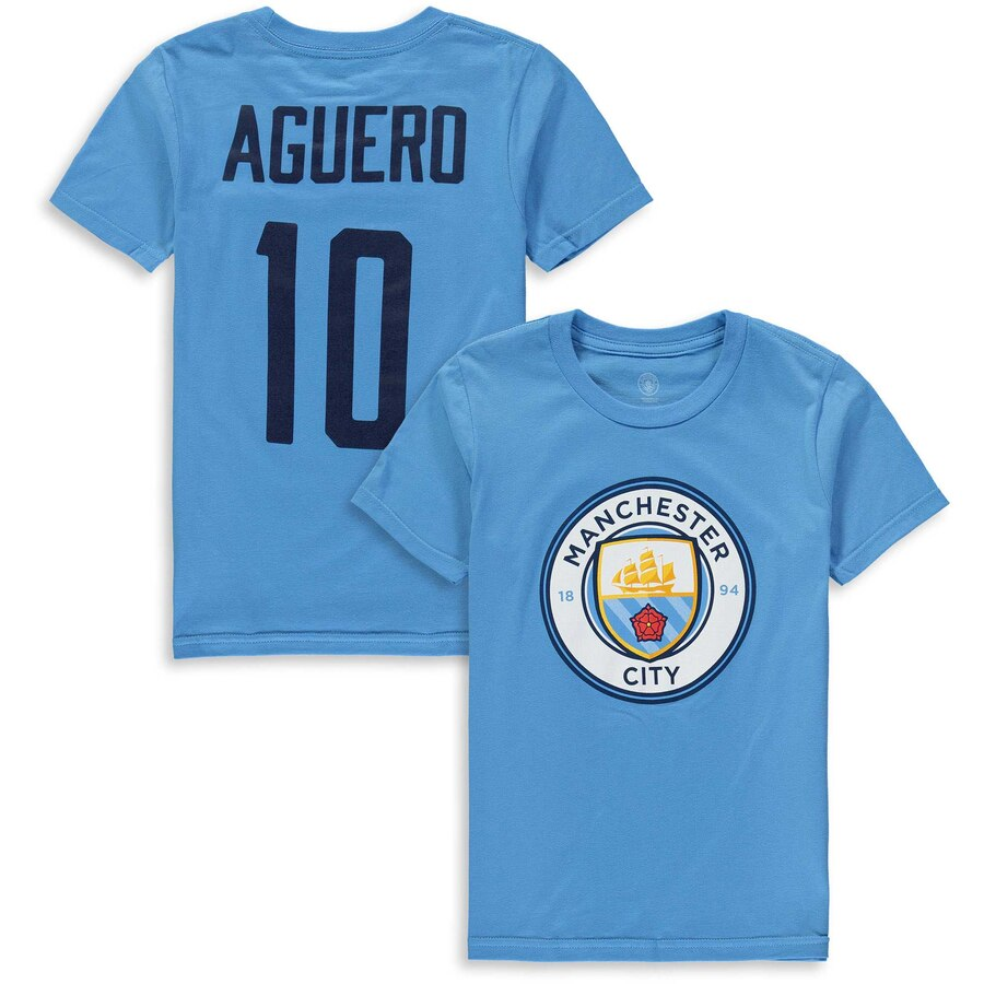 new york f6b36 3348d MANCHESTER CITY - AGUERO NAME & NUMBER T-SHIRT (YOUTH)